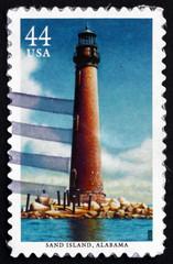 Postage stamp USA 2009 Sand Island, Alabama, Lighthouse