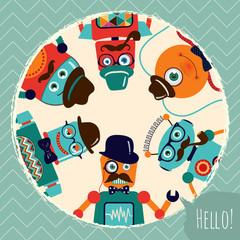Hipster Retro Robots Card Illustration, Banner, Background