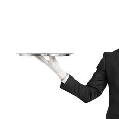 Fototapeta hand with silver plate obraz