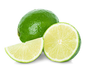 Limes with slices isolated