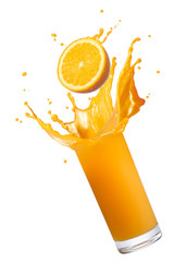 Wall Mural - orange juice splash