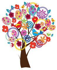 vector Easter tree with eggs, flowers, birds