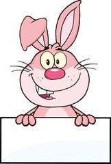 Cute Pink Rabbit Cartoon Mascot Character Over Blank Sign