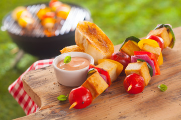 Aluminium Prints Grill / Barbecue Healthy picnic lunch at a summer barbecue