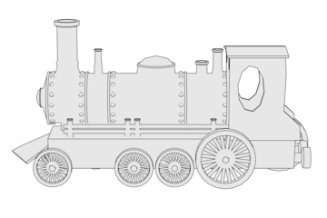 cartoon image of old train