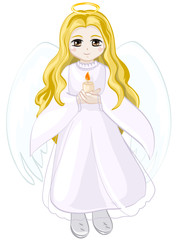 Angel girl with wings and a halo holding a candle