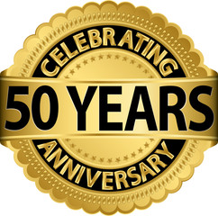 Celebrating 50 years anniversary golden label with ribbon, vecto