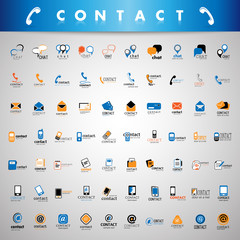 Contact Icons Set - Isolated On Gray Background
