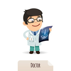 Doctor looking at x-ray