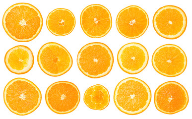 Fruit orange set, isolated on white background