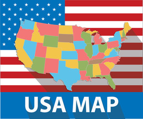 USA map,Colorful version,vector