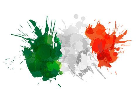 Italian  flag made of colorful splashes