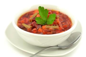 Obraz barszcz czerwony z warzywami - fototapety do salonu