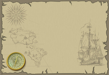 old map wallpaper with ship and compass