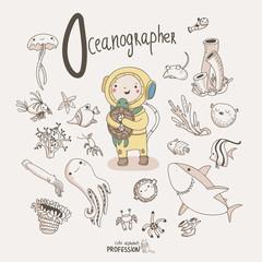 Cute vector alphabet Profession. Letter O - Oceanographer