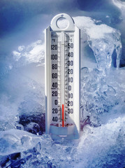 Ice cold thermometer in snow