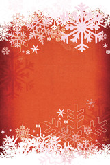 Textured red snowflake background.