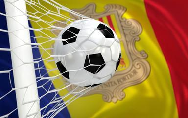 Flag of Andorra and soccer ball in goal net