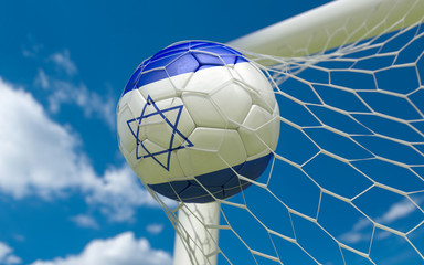 Flag of Israel and soccer ball in goal net