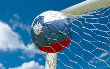 Flag of Slovenia and soccer ball in goal net