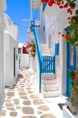 Fototapete - Beautiful white streets of Mykonos, Greece
