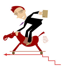 Businessman on the horse is making progress on the career ladder