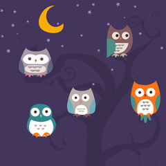 Seamless pattern with colorful cartoon owls