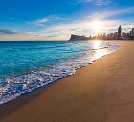 Wall Mural - Benidorm Alicante playa de Poniente beach sunset in Spain