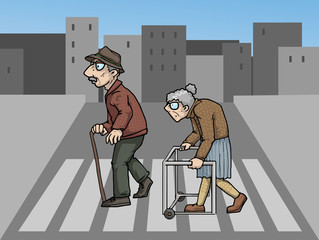 Two elderly people crossing a street
