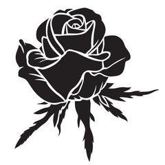 Silhouette rose flower