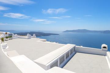 Greece Santorini island panoramic view of the sea, above oia in