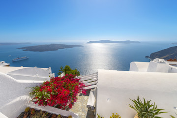 Fototapete - Greece Santorini island panoramic view of the sea, above oia in