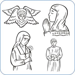 Angels and saints - vector illustration.