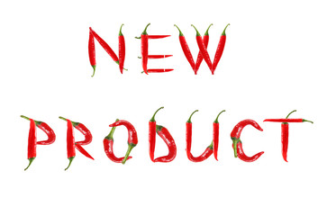 Picture of the words NEW PRODUCT written with red chili peppers