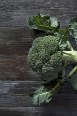 broccoli on wooden rustic table