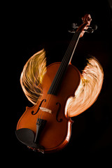 Violin on fire illustration