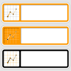 set of three frames for inserting text and graph