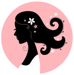 Romance girl floral silhouette in pink circle
