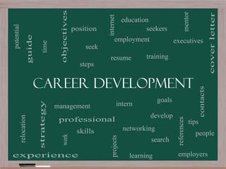 Career Development Word Cloud Concept on a Blackboard