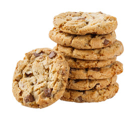 Stack of chocolate chunk crispy cookie