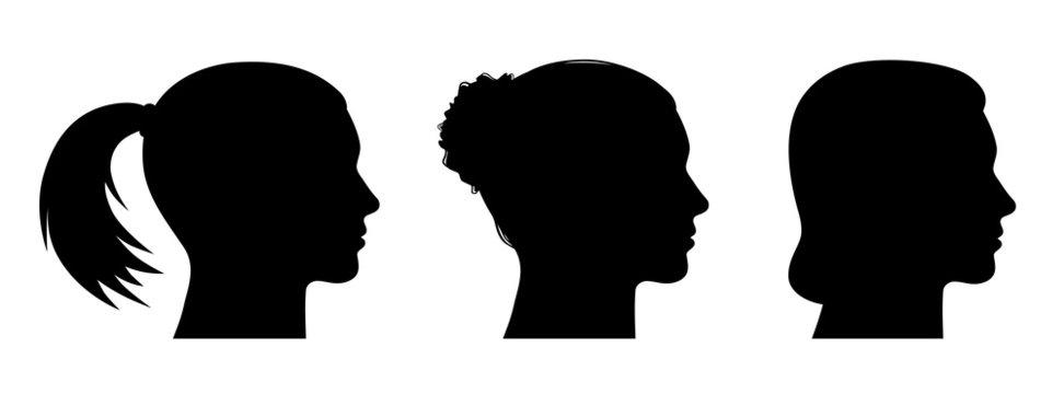 Set: 3 Frauenköpfe seitlich im Profil mit verschiedenen Frisuren