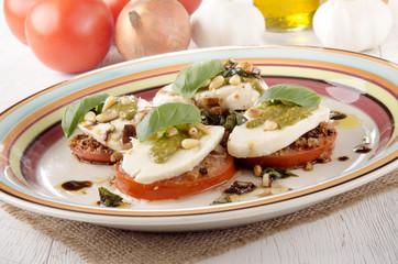 breaded tomato slices with mozzarella