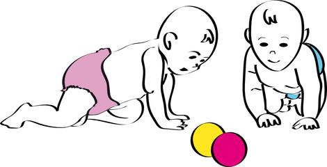 Zwei Babies mit Bällen