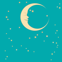 crescent moon and stars around him sleep