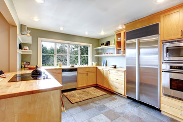 Served dining table in a bright kitchen room