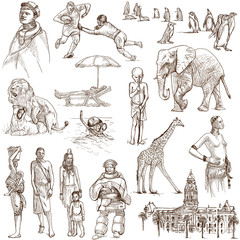 SOUTH AFRICA_1. Full sized hand drawn illustrations on white