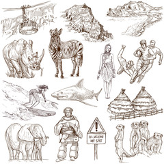 SOUTH AFRICA_2. Full sized hand drawn illustrations on white