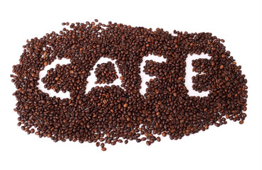 Cafe text in coffee beans on isolated white