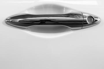 car door an opener's handle, bright chromium