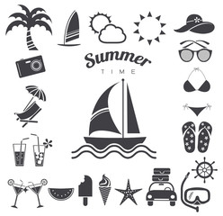 Summer icons set, vector illustration
